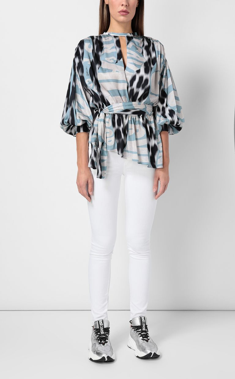 "JUST CAVALLI Top with ""Just Flow"" print Top Woman d"