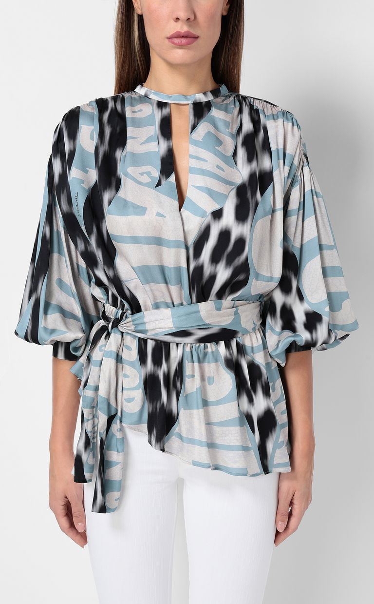 "JUST CAVALLI Top with ""Just Flow"" print Top Woman r"