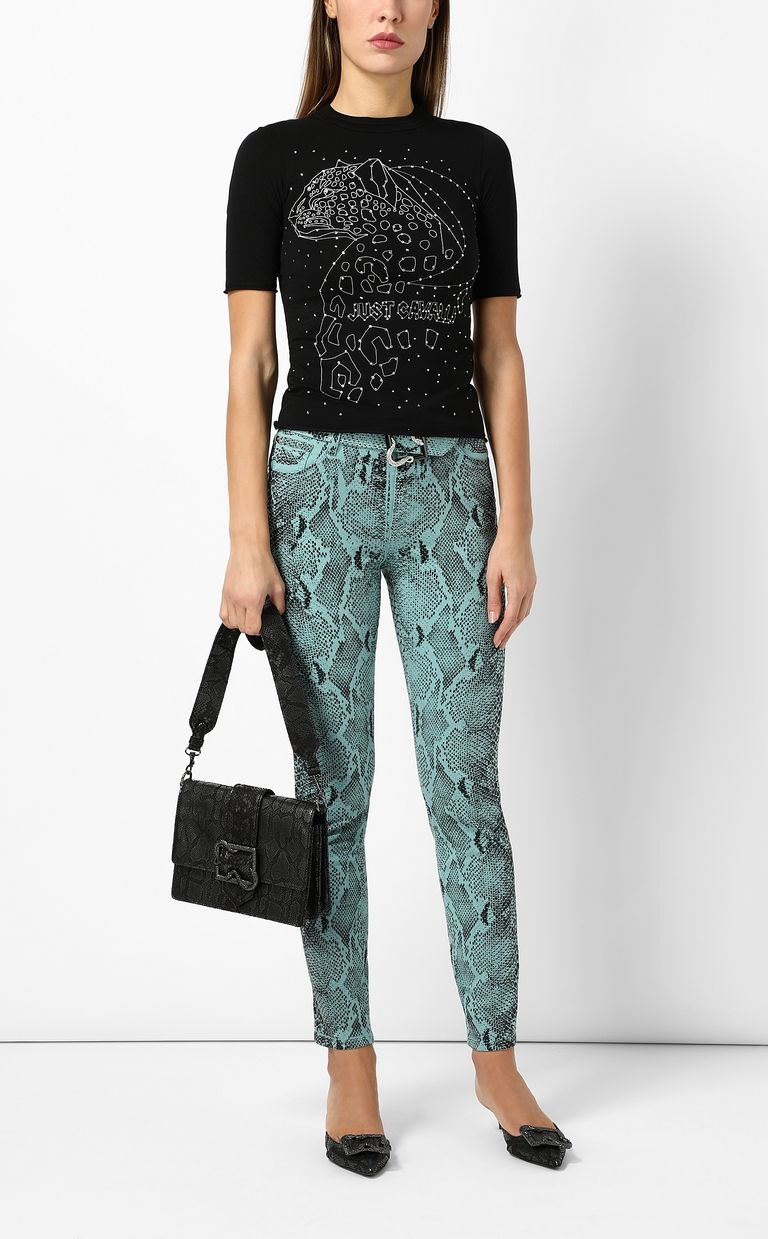 JUST CAVALLI T-shirt with leopard print Short sleeve t-shirt Woman d