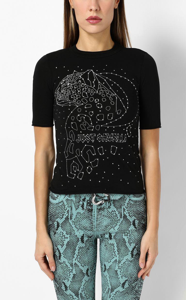 JUST CAVALLI T-shirt stampa leopardo T-shirt maniche corte Donna r