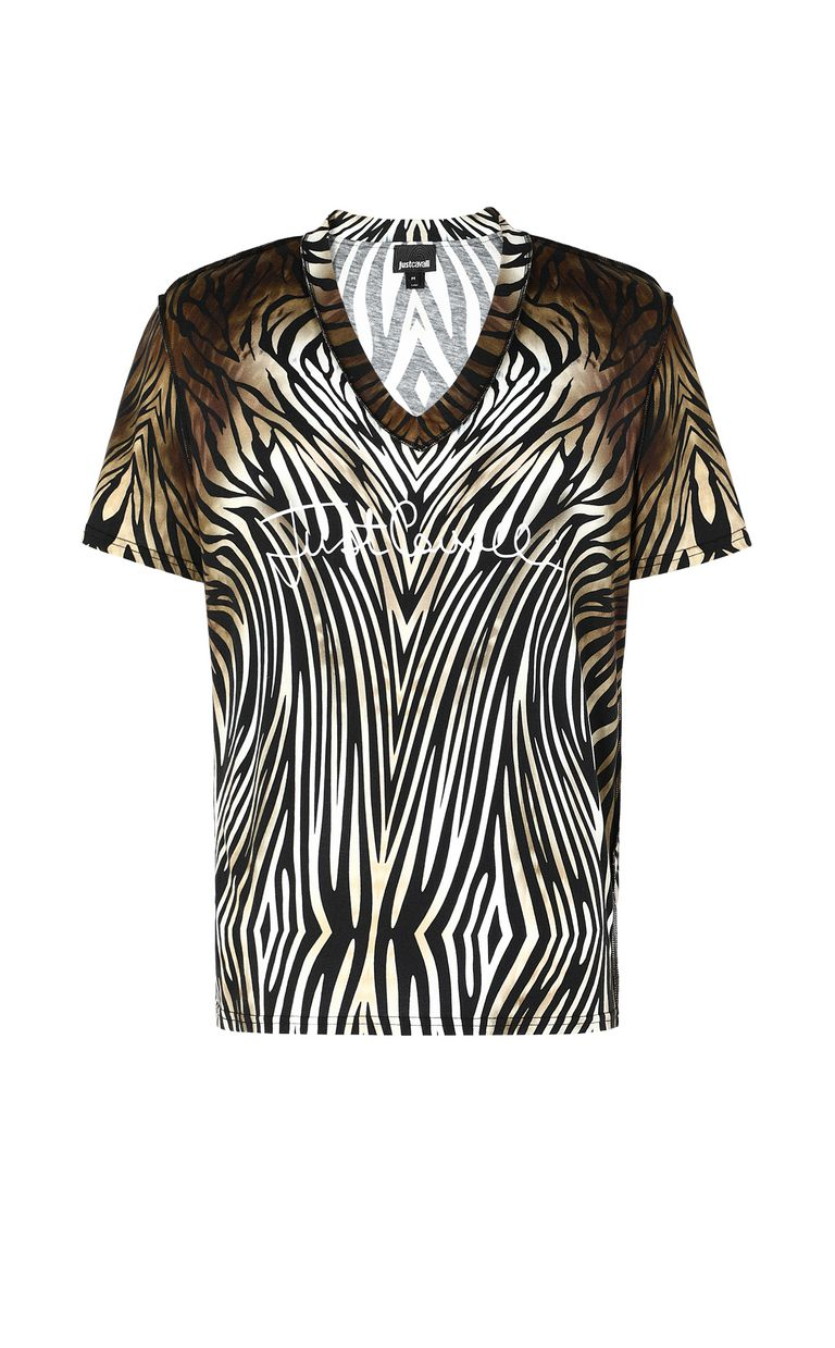 "JUST CAVALLI T-shirt with ""Symbiosis"" print Short sleeve t-shirt Man f"