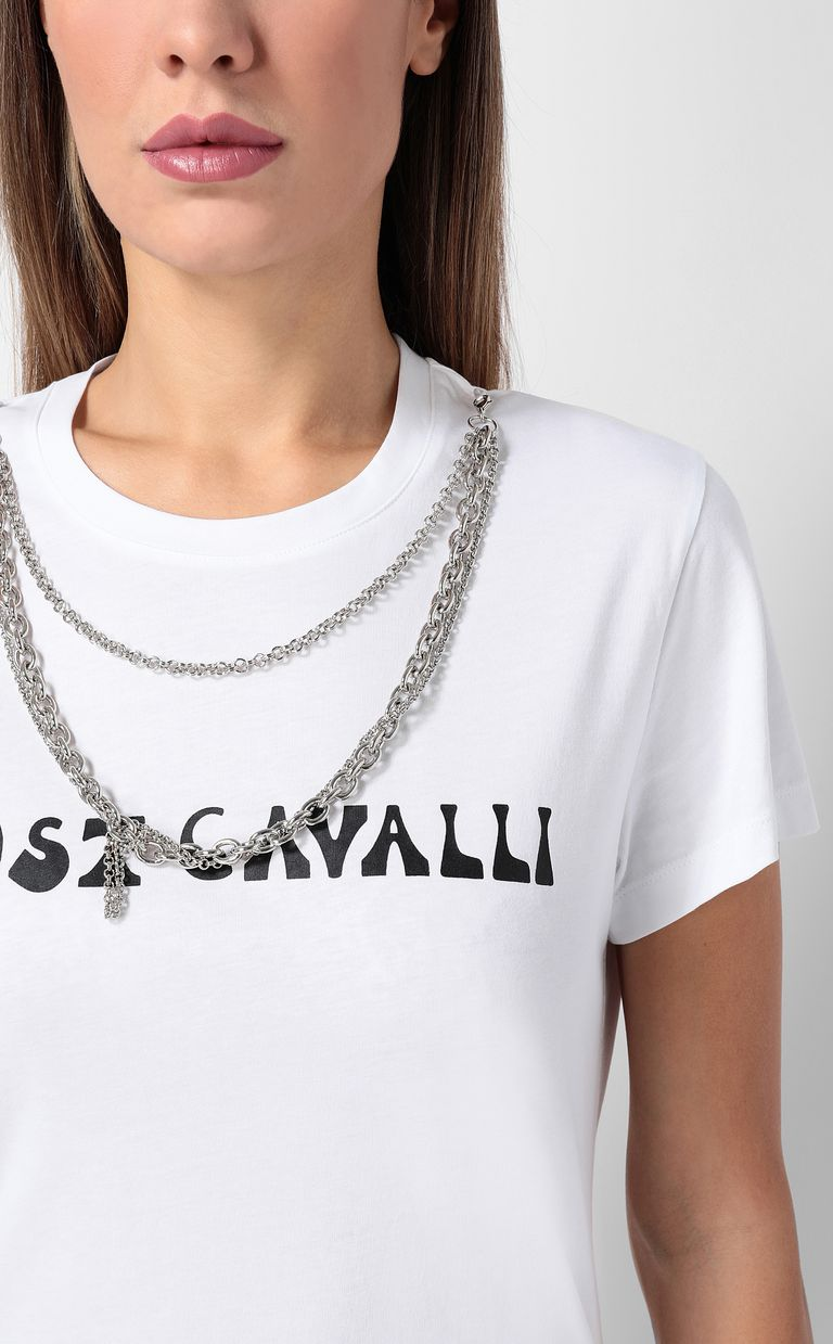 JUST CAVALLI T-shirt with logo and chain detail Short sleeve t-shirt Woman e