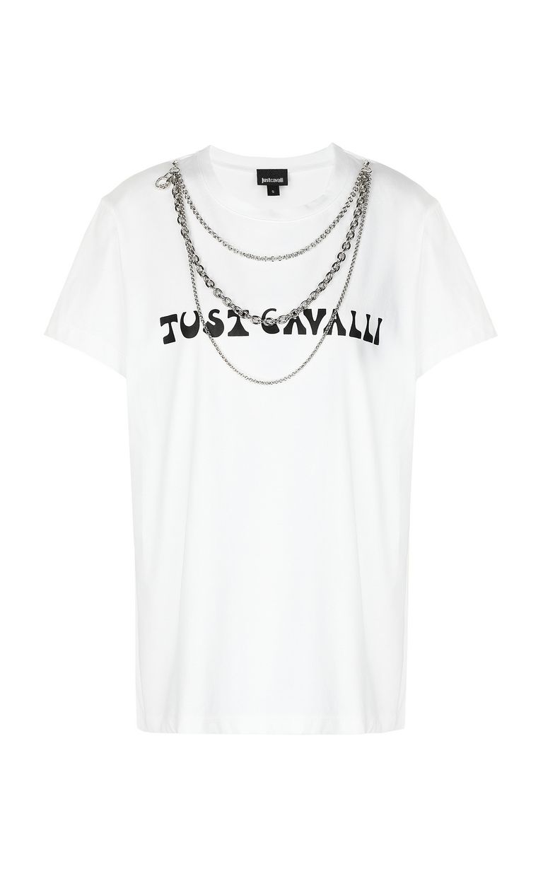 JUST CAVALLI T-shirt with logo and chain detail Short sleeve t-shirt Woman f