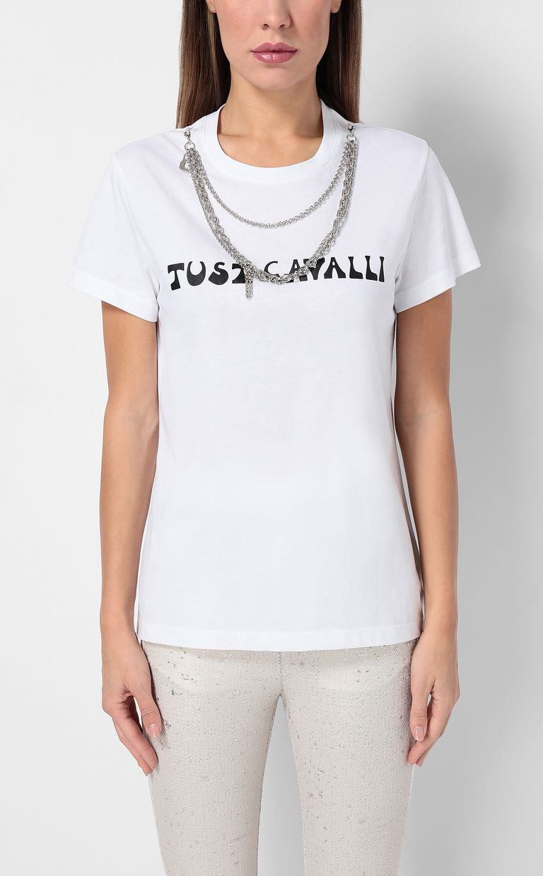 JUST CAVALLI T-shirt with logo and chain detail Short sleeve t-shirt Woman r