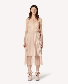 REDValentino Point d'esprit tulle top with lace ribbons