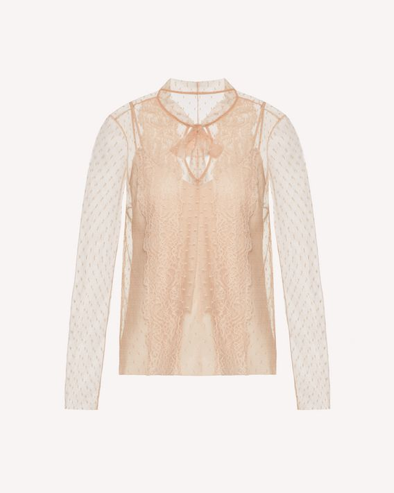 REDValentino Top in tulle point d'esprit con nastri di pizzo