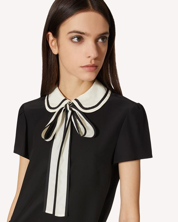 REDValentino Silk top with rounded collar and bow