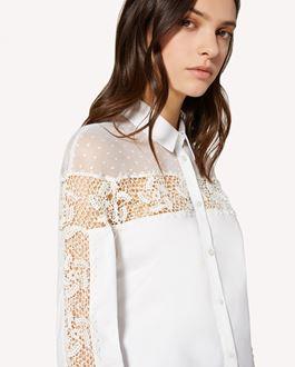 REDValentino Cotton poplin shirt with polka dot cotton mesh