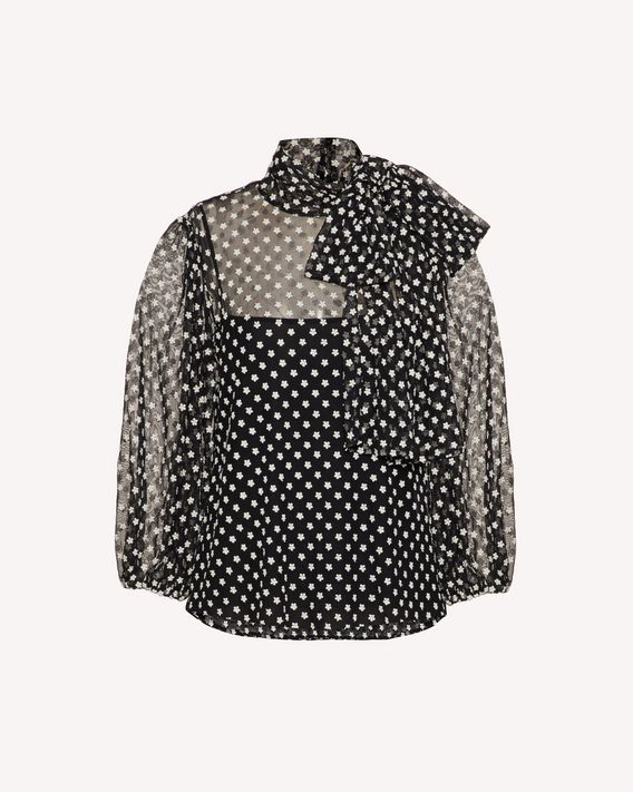 REDValentino Tulle top with flower embroidery