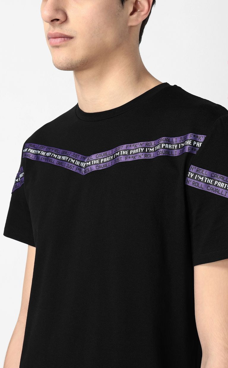 JUST CAVALLI T-shirt with band detail Short sleeve t-shirt Man e