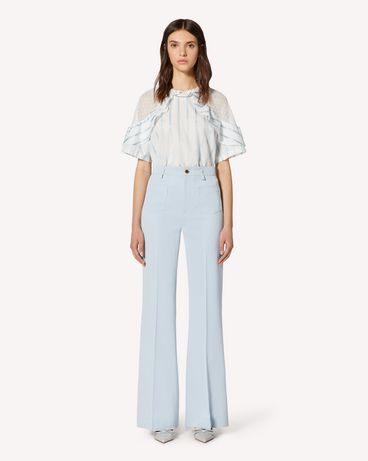 REDValentino Striped lamé voile top with polka dot cotton mesh