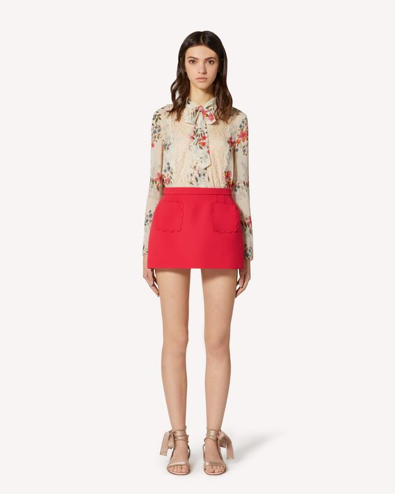 REDValentino Floral Flounces muslin top with lace ribbons