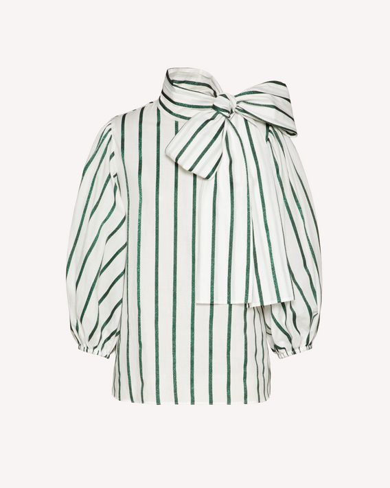 REDValentino Striped lamé voile top