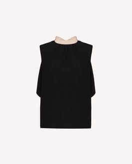 REDValentino EXCLUSIVE CAPSULE Ruffles detail crepe envers satin top