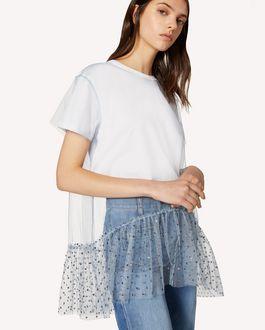 REDValentino T-shirt con tulle point glitter