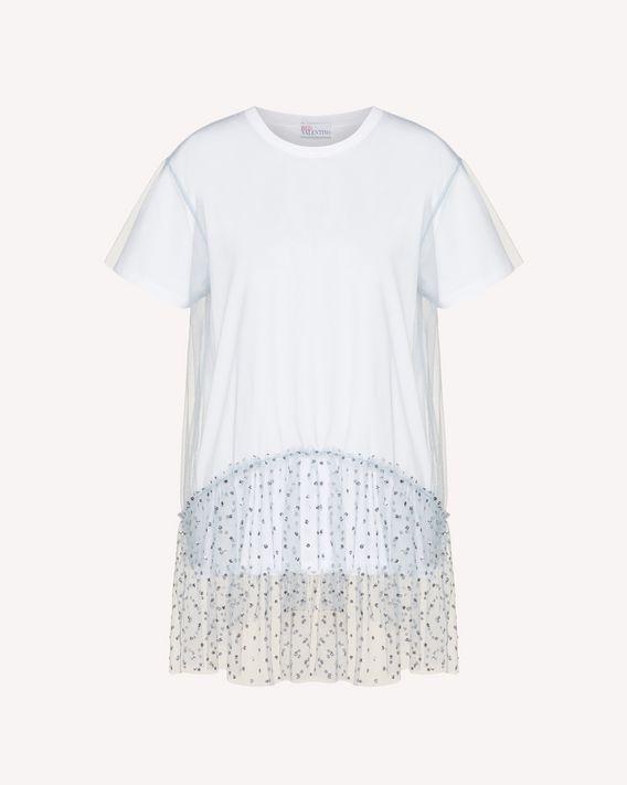 REDValentino T-shirt en tulle à pois scintillants