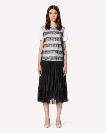 REDValentino T-shirt with glitter point d'esprit tulle