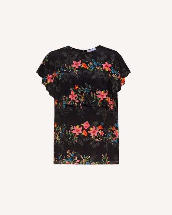 REDValentino Floral Flounces silk top