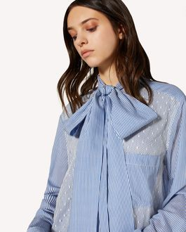 REDValentino Striped cotton-silk shirt with point d'esprit tulle