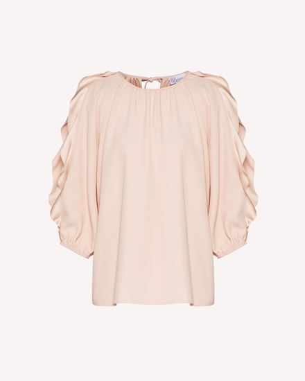 Ruffles detail crepe envers satin top
