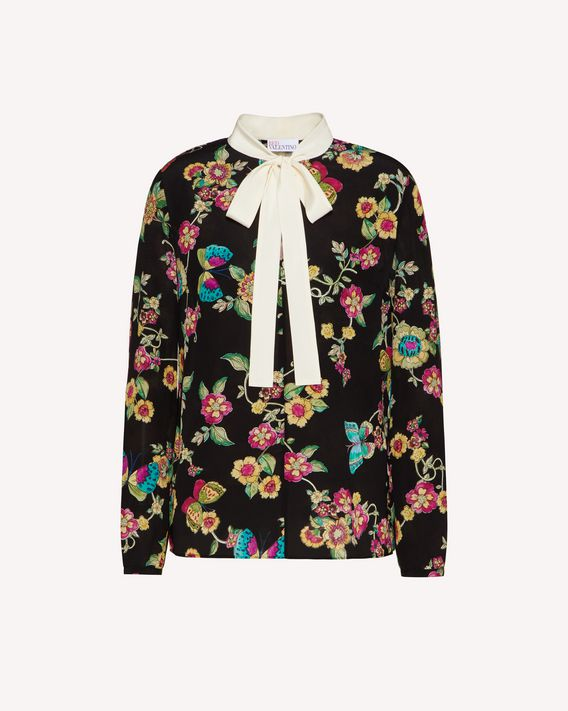 REDValentino Silk top with Flower and Butterflies print