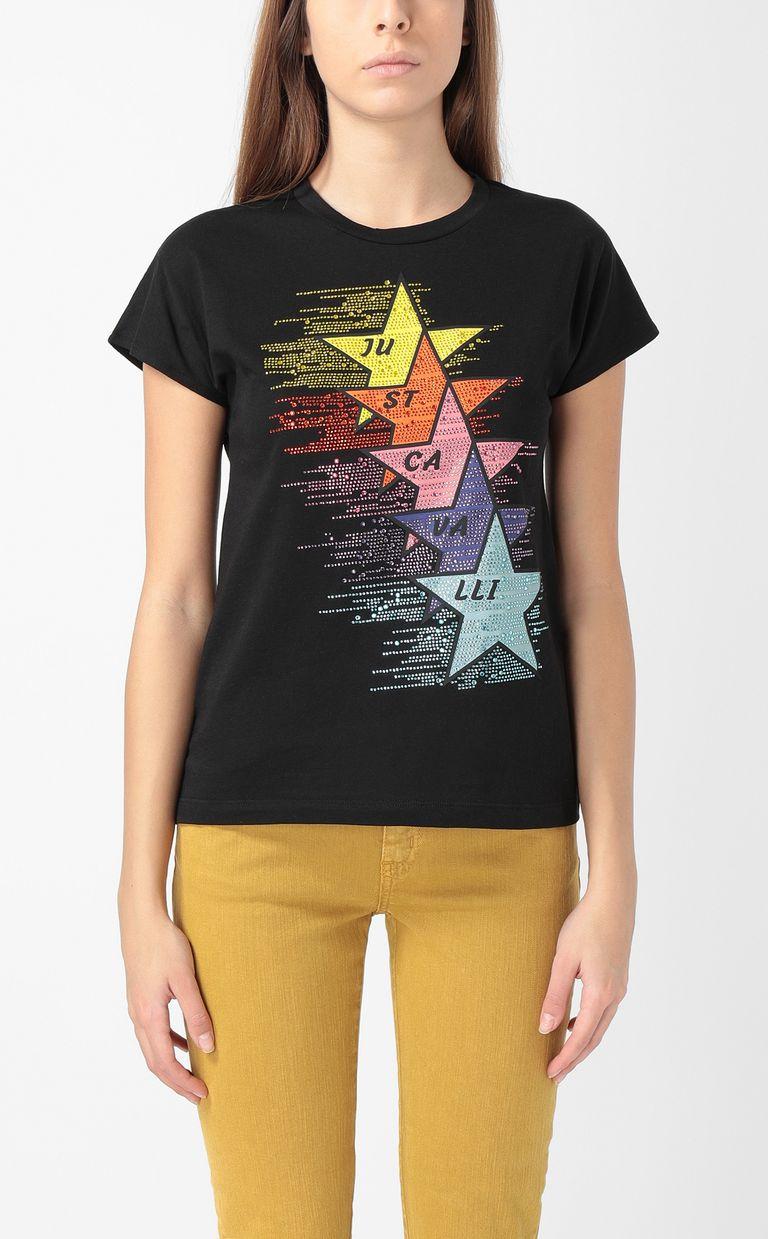 JUST CAVALLI T-shirt with stars print Short sleeve t-shirt Woman r