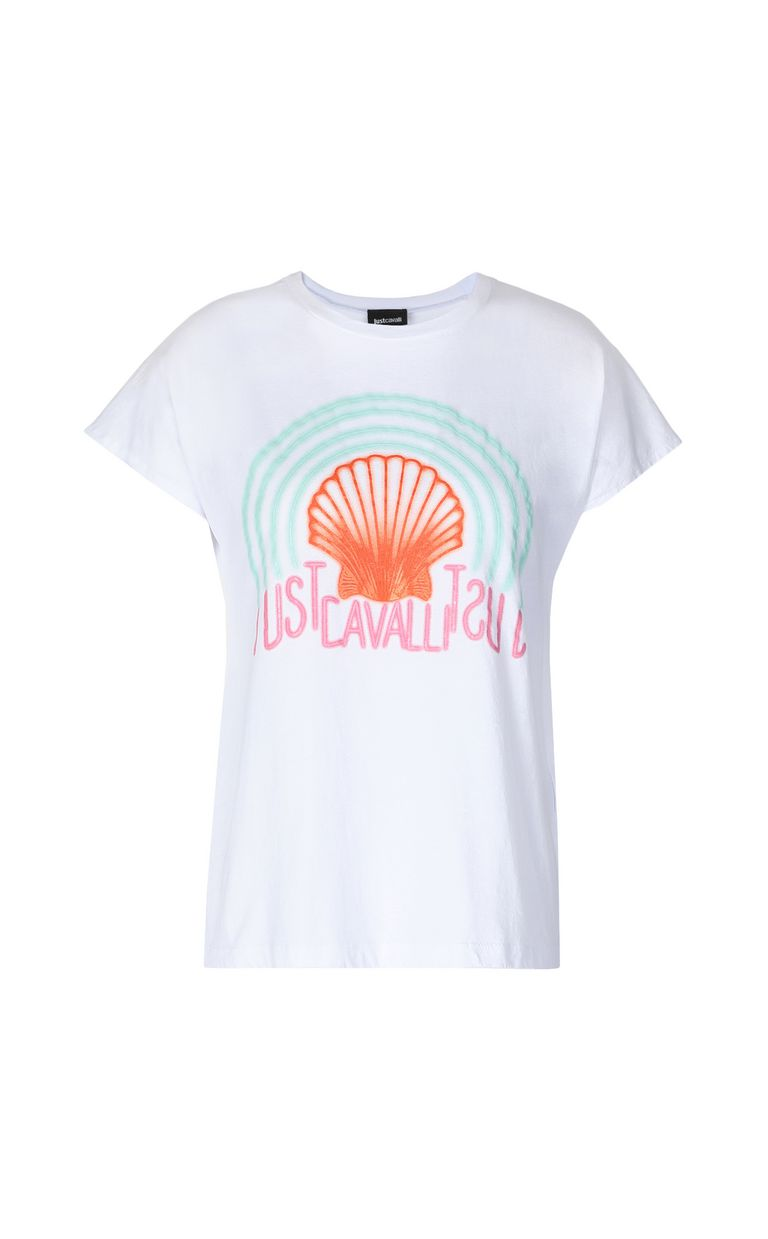 JUST CAVALLI T-shirt with print design Short sleeve t-shirt Woman f