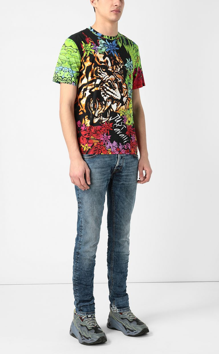 """JUST CAVALLI T-shirt with """"In the Jungle"""" print Short sleeve t-shirt Man d"""