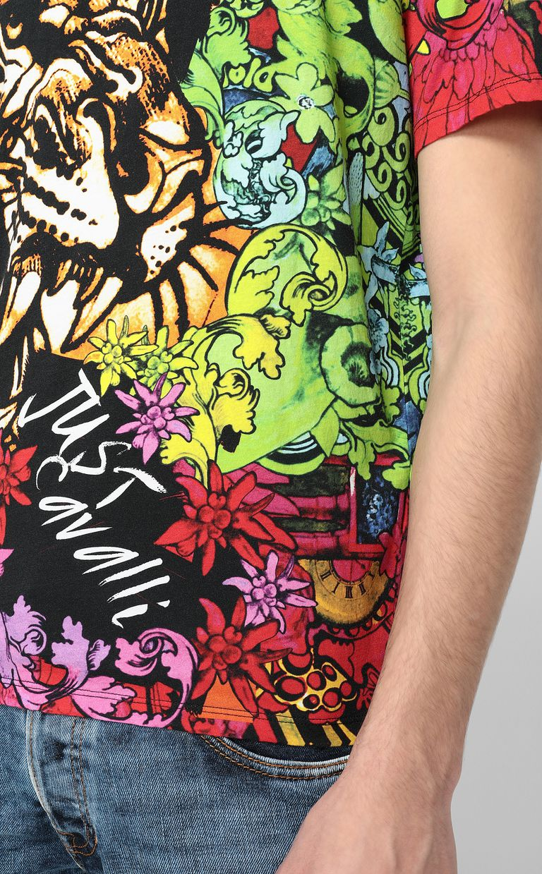 """JUST CAVALLI T-shirt with """"In the Jungle"""" print Short sleeve t-shirt Man e"""