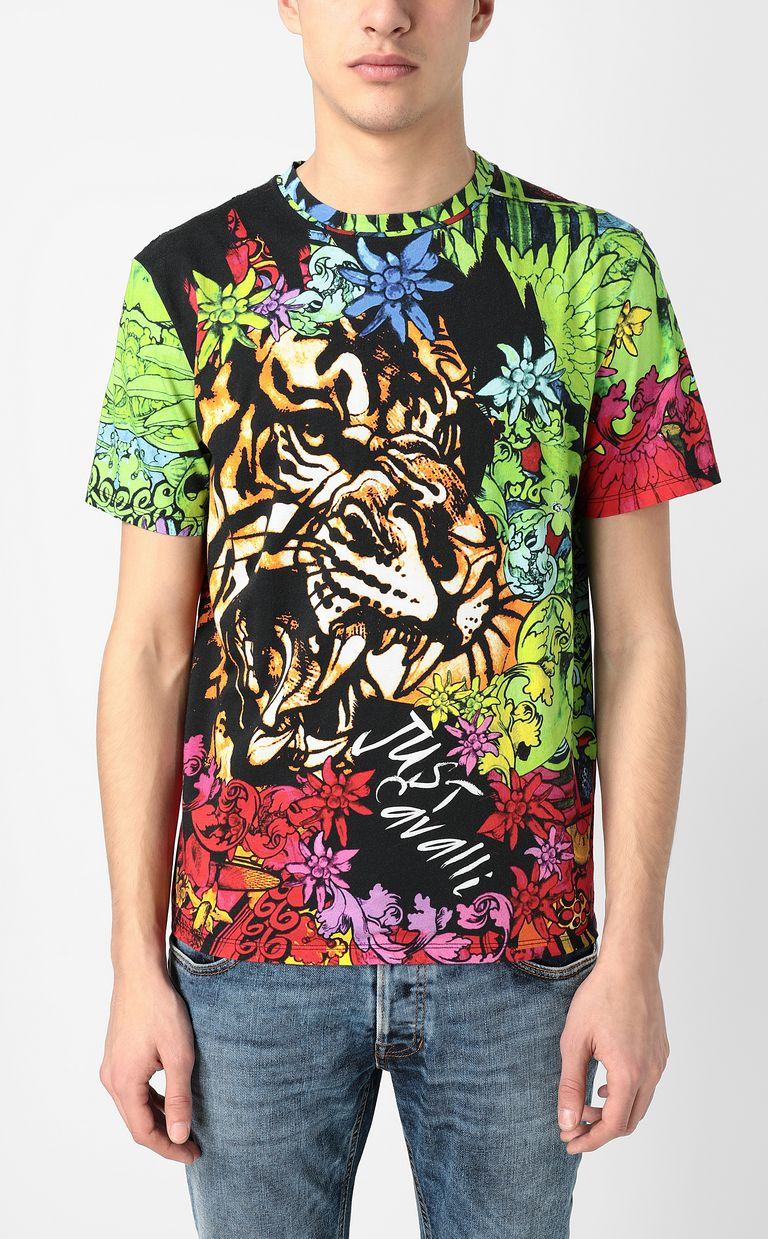 """JUST CAVALLI T-shirt with """"In the Jungle"""" print Short sleeve t-shirt Man r"""