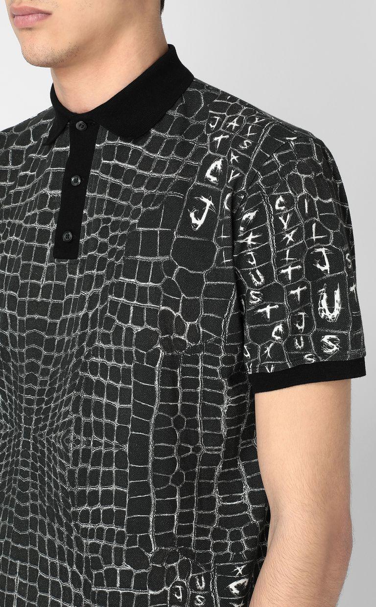 JUST CAVALLI Crocodile-skin-effect polo shirt Polo shirt Man e