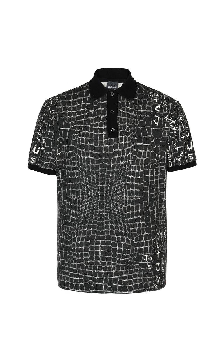 JUST CAVALLI Crocodile-skin-effect polo shirt Polo shirt Man f