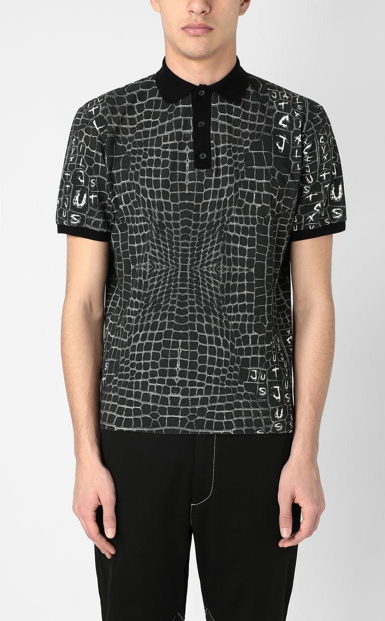 JUST CAVALLI Crocodile-skin-effect polo shirt Polo shirt Man r