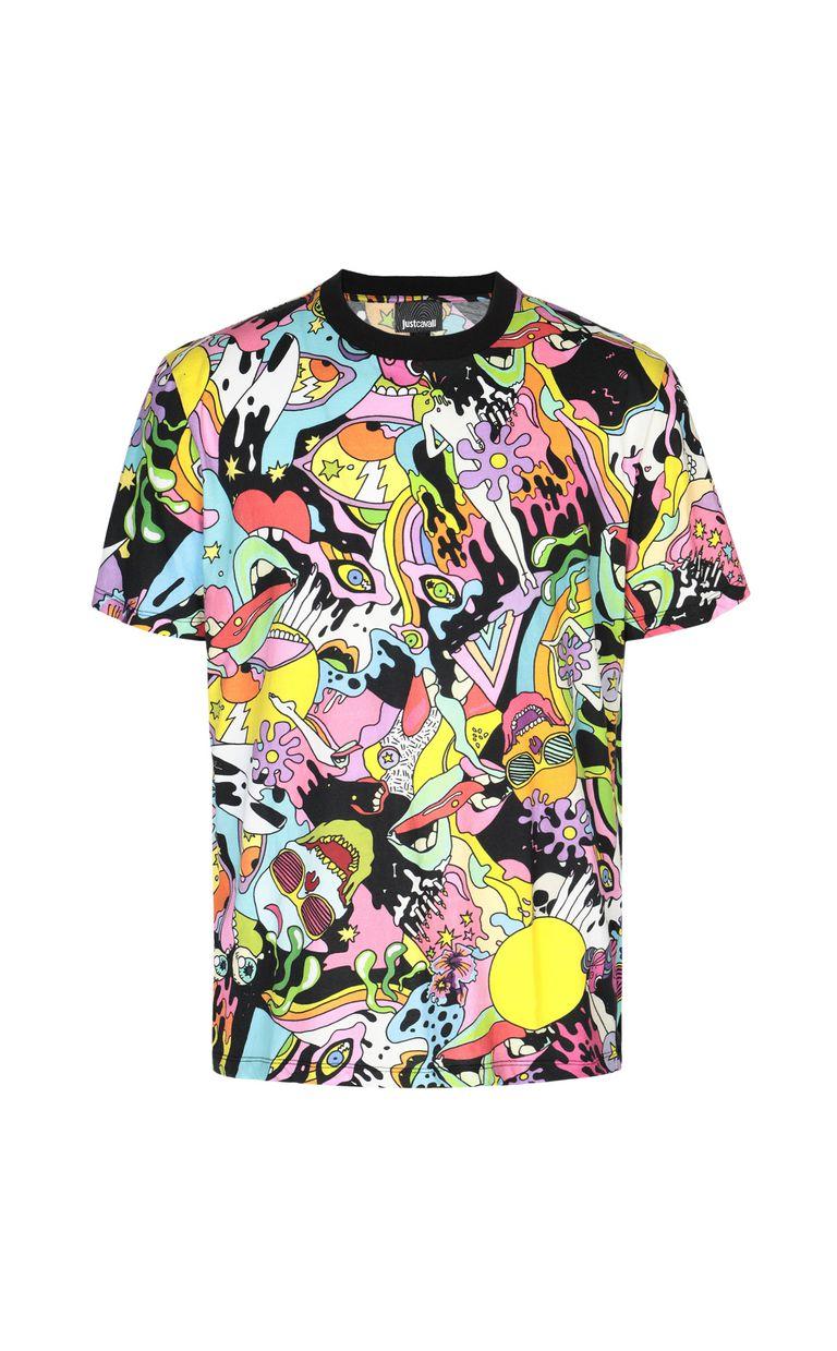 "JUST CAVALLI T-shirt with ""Mash-Up"" print Short sleeve t-shirt Man f"