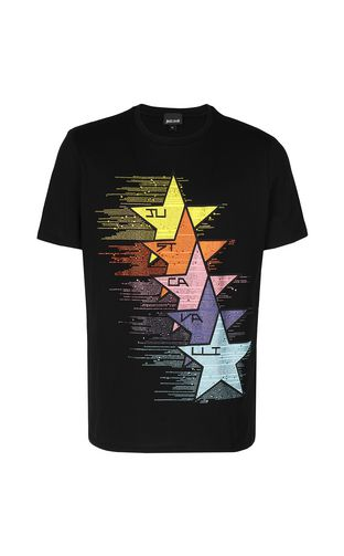 "JUST CAVALLI Short sleeve t-shirt Man T-shirt with ""Mash-Up"" print f"