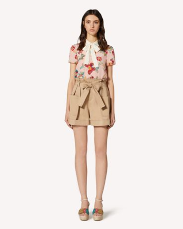 REDValentino Flower and Butterflies printed silk top with rounded collar and bow