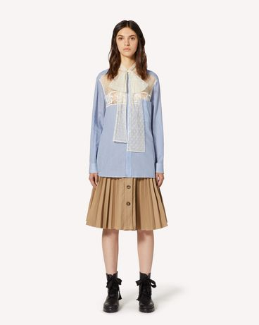 REDValentino Striped cotton silk shirt with point d'esprit tulle
