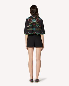 REDValentino Cotton voile shirt with multicolor St. Gallen embroidery