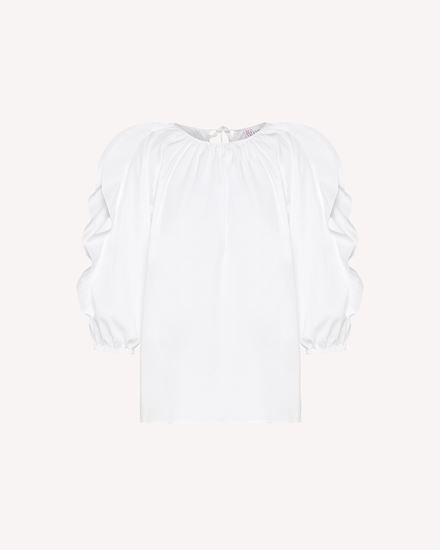 Ruffles detail cotton poplin top
