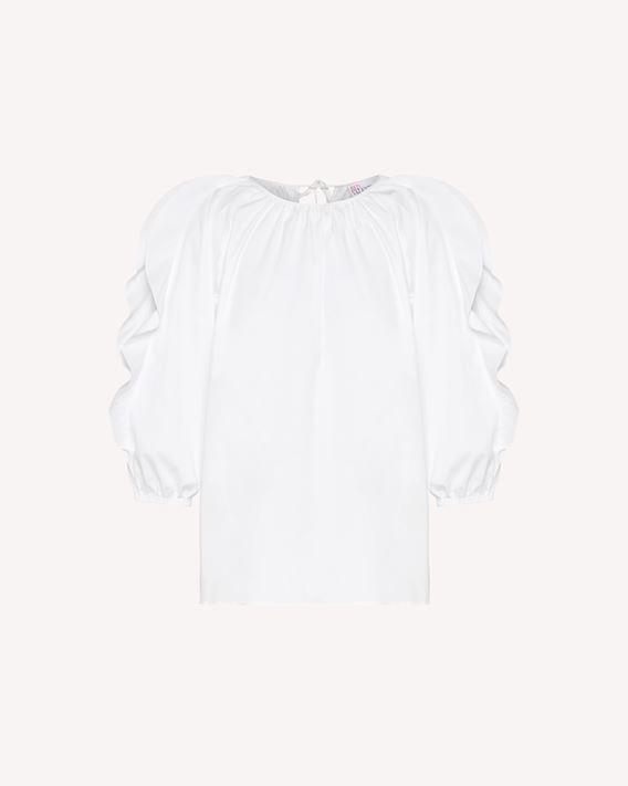 REDValentino Ruffles detail cotton poplin top