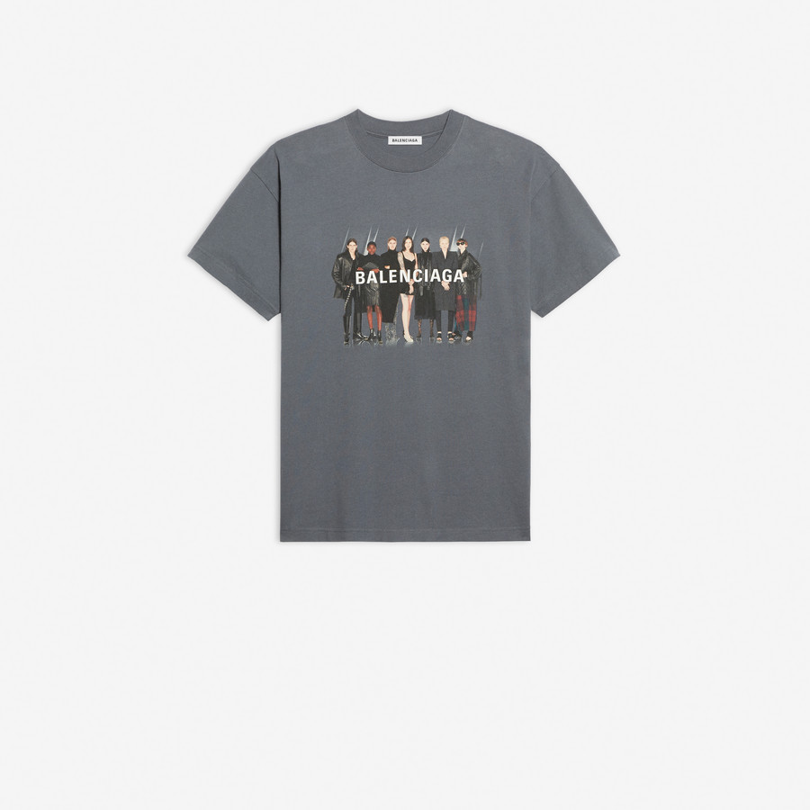 Real Balenciaga Medium Fit T Shirt Gray