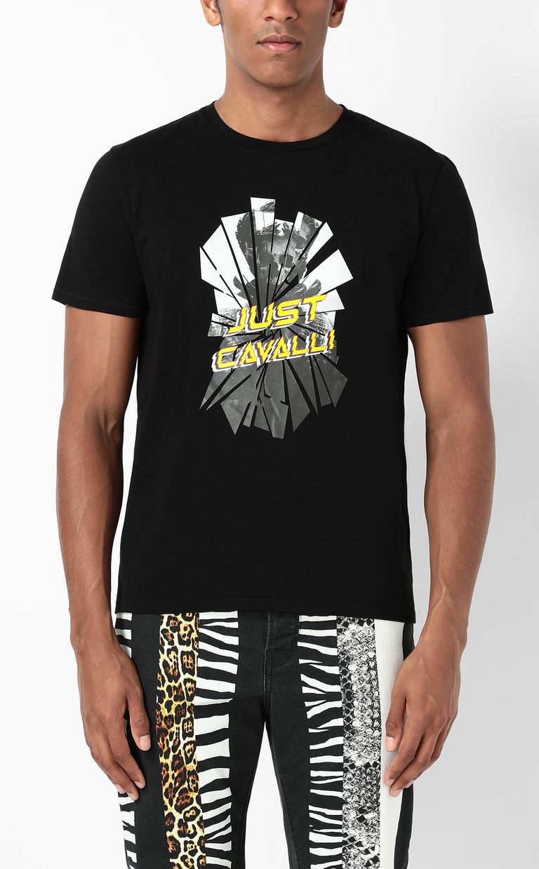 JUST CAVALLI T-shirt with Broken-Mirror print Short sleeve t-shirt Man r