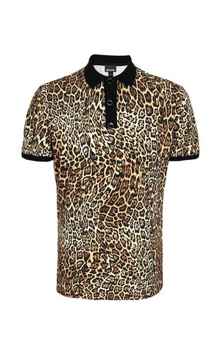 JUST CAVALLI Polo shirt Man Polo shirt with leopard-spot print f