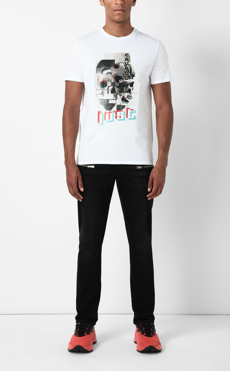 JUST CAVALLI T-shirt with Skull-Part print Short sleeve t-shirt Man d