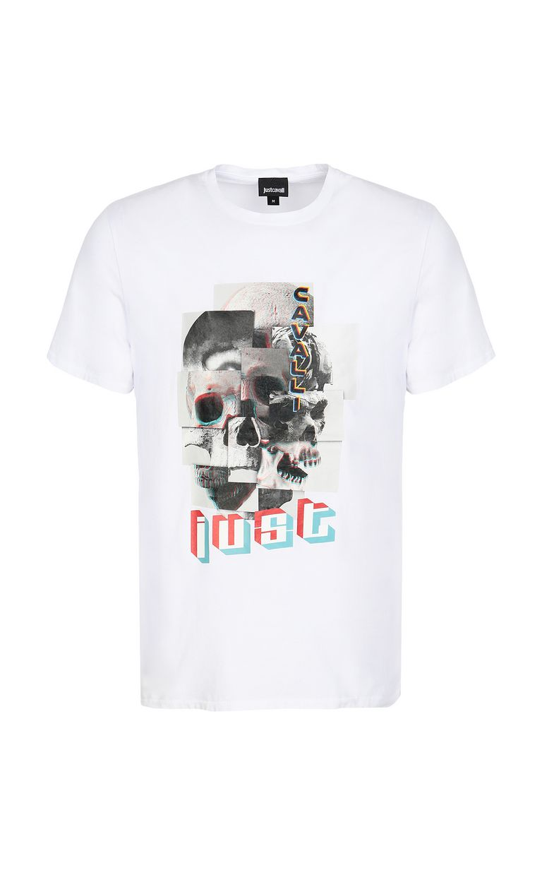 JUST CAVALLI T-shirt with Skull-Part print Short sleeve t-shirt Man f