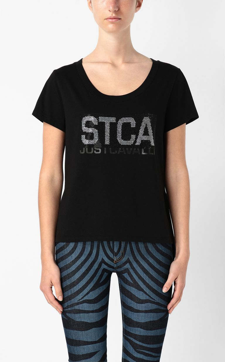 JUST CAVALLI T-shirt with STCA logo Short sleeve t-shirt Woman r