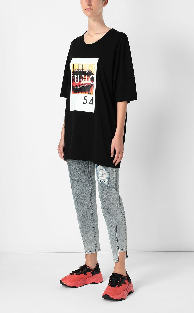JUST CAVALLI T-shirt with Poster Mouth print Short sleeve t-shirt Woman d