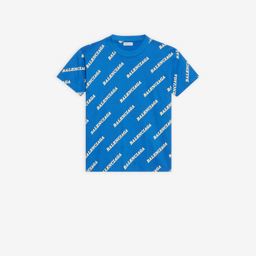 Allover Sporty Logo Fitted T Shirt Blue