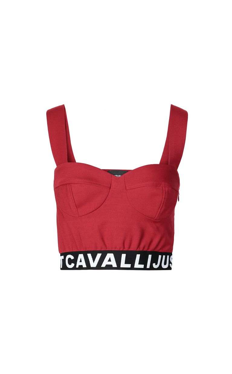 JUST CAVALLI Crop top with logo tape Top Woman f