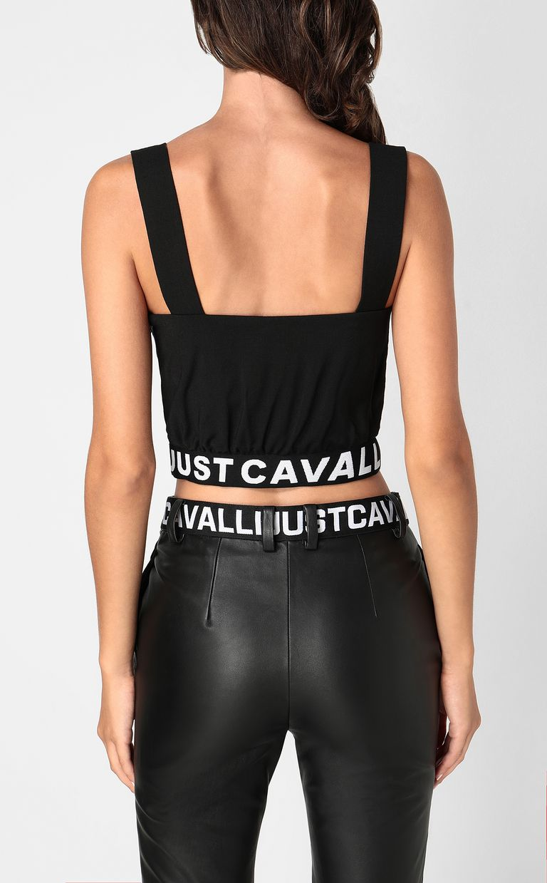 JUST CAVALLI Crop top with logo tape Top Woman a